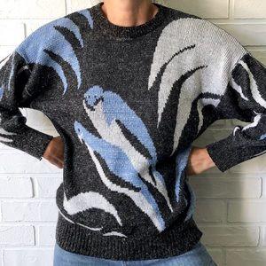 Vintage bird knit grandma sweater black white metallic silver blue S